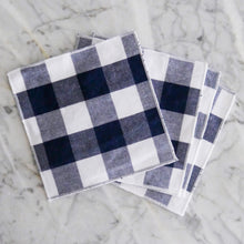 Cocktail Napkin Set / Navy Blue Gingham