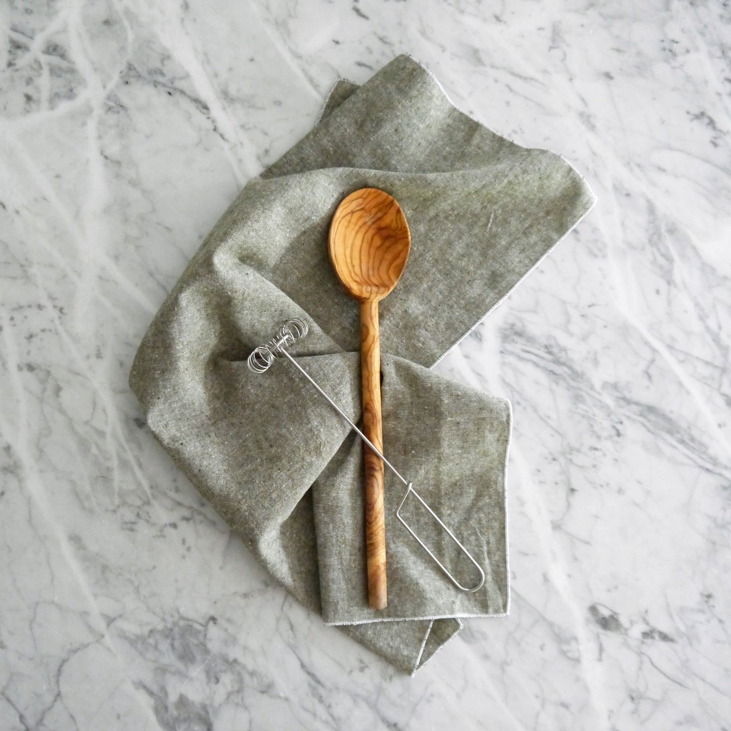 Hand Towel / Olive Green Chambray