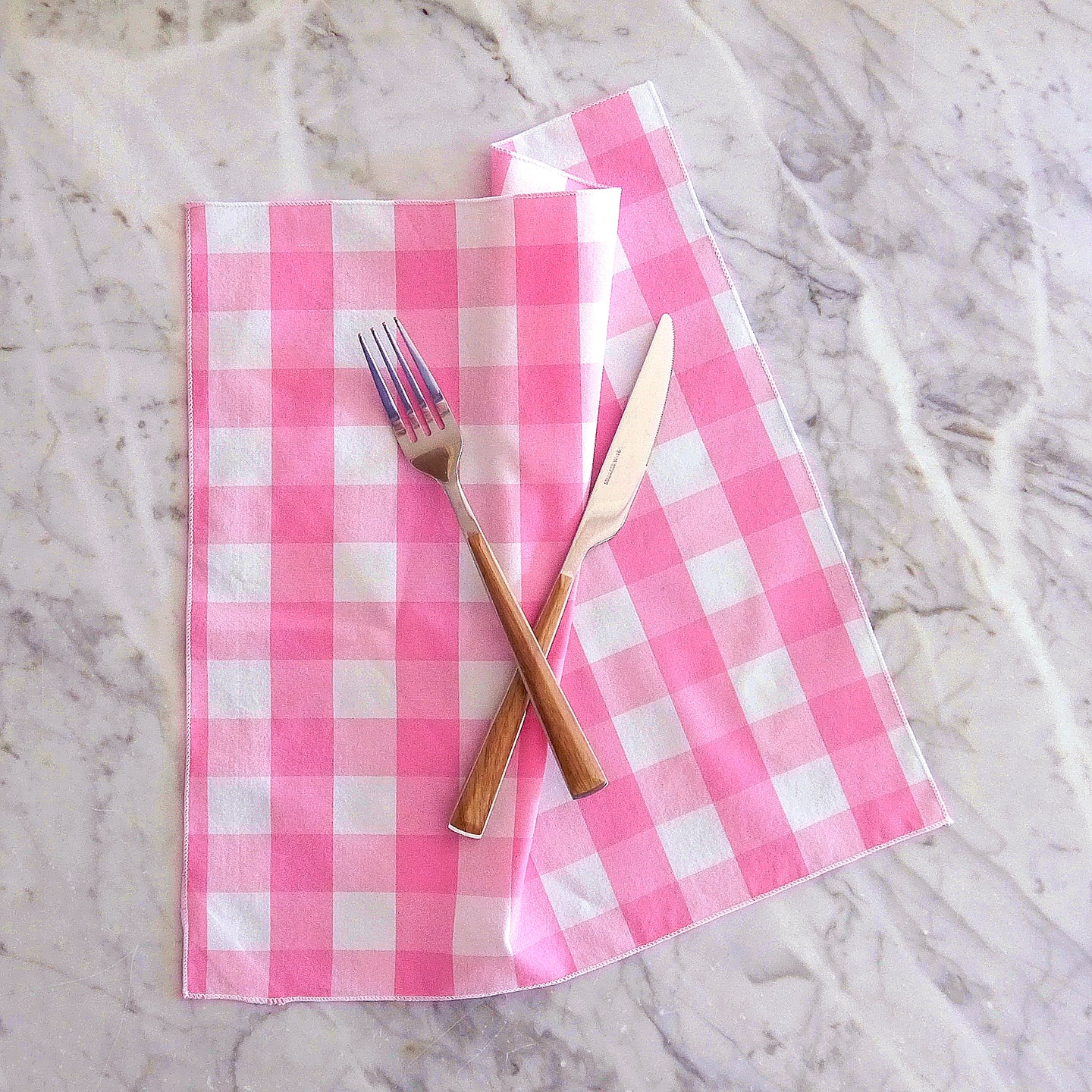 Dinner Napkin Set / Pink Gingham