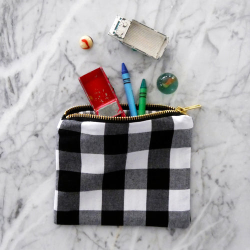 Zipper Bag / Small Black and White Gingham
