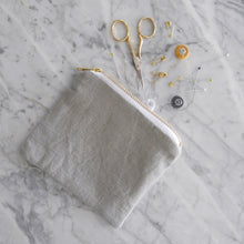 Zipper Bag / Small Gray Linen