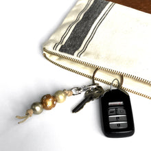 Hand Painted Wood Bead Key Fob in Metallic Gold