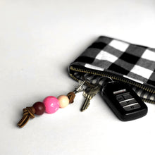 Hand Painted Wood Bead Key Fob in Hot Pink