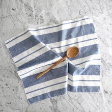 Hand Towel / Blue Wide Stripe Linen
