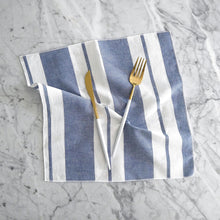 Dinner Napkin / Wide Blue Stripe Linen