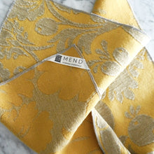 Dinner Napkin Set / Yellow and Gray Damask