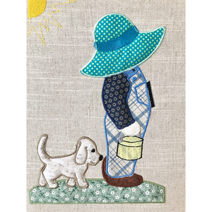 Boy with Dog - green hat