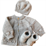 Seeds Pattern Baby Cardigan set (3 pieces)