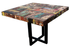 Square Dining Table Made From Recycled Boats