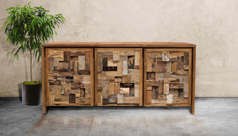 Recycled teak mozaik buffet