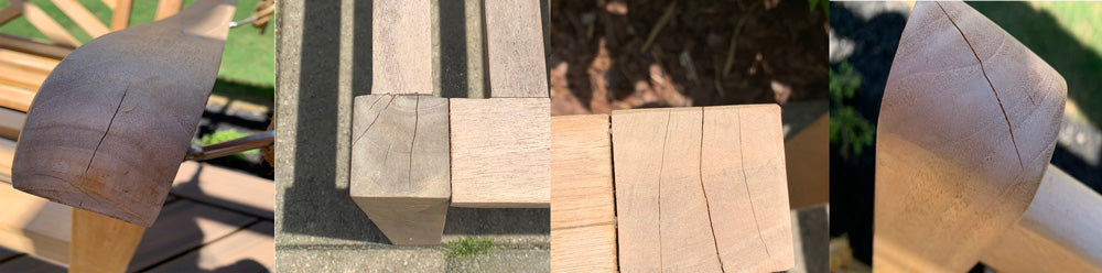 Examples of Checking on Teak Wood