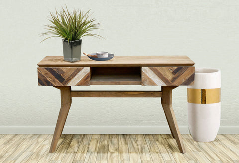 Recycled teak Art deco console table