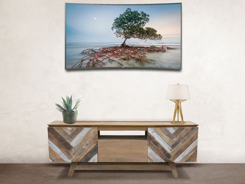 Recycled teak art deco media center / tv stand