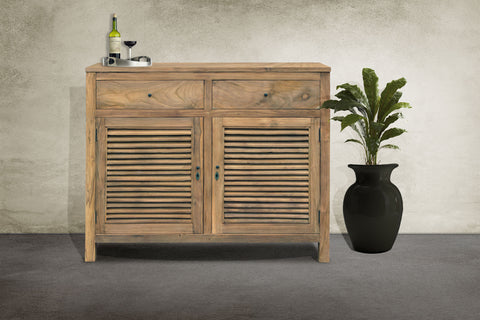 Recycled teak louvered cabinet
