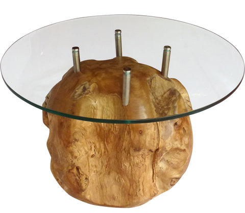 "Teak Root Ball Table with 24"" Glass Top"