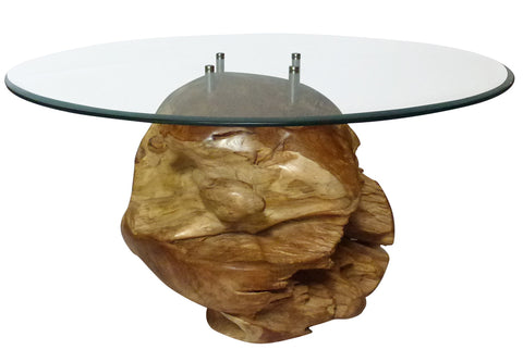 "Teak Root Ball Table with 39"" Glass Top"