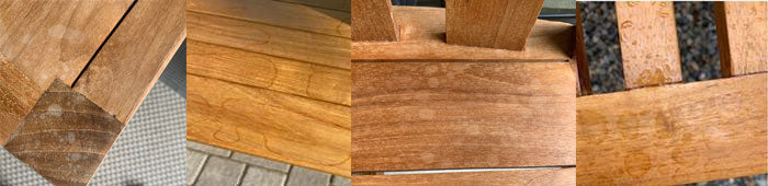 Water Marks on Teak with Wax Coat