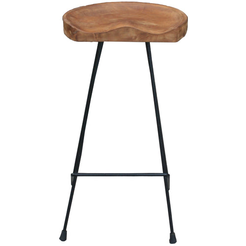 Teak and Iron Barstool - Chic Teak