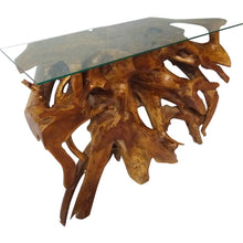 Teak Wood Root Console Table with Glass Top, 48 inches - Chic Teak