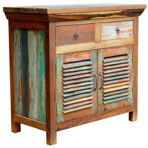 Chest 2 Slatted Doors 2 Drawers made from Recycled Boats - Chic Teak