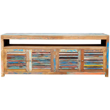Chest / Media Center with 4 doors & Raised Shelf made from Recycled Boats - Chic Teak