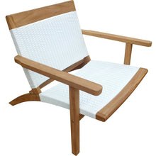 Teak Wood Barcelona Patio Lounge and Dining Chair, White - Chic Teak