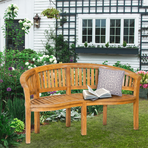 Teak Wood Peanut Triple Bench