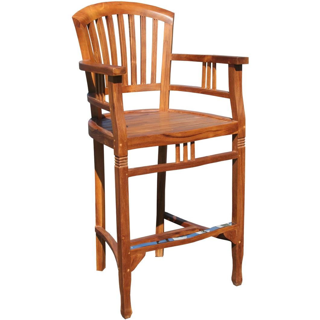 Teak Wood Orleans Bar Stool With Arms