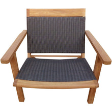 Teak Wood Barcelona Patio Lounge and Dining Chair, Black - Chic Teak