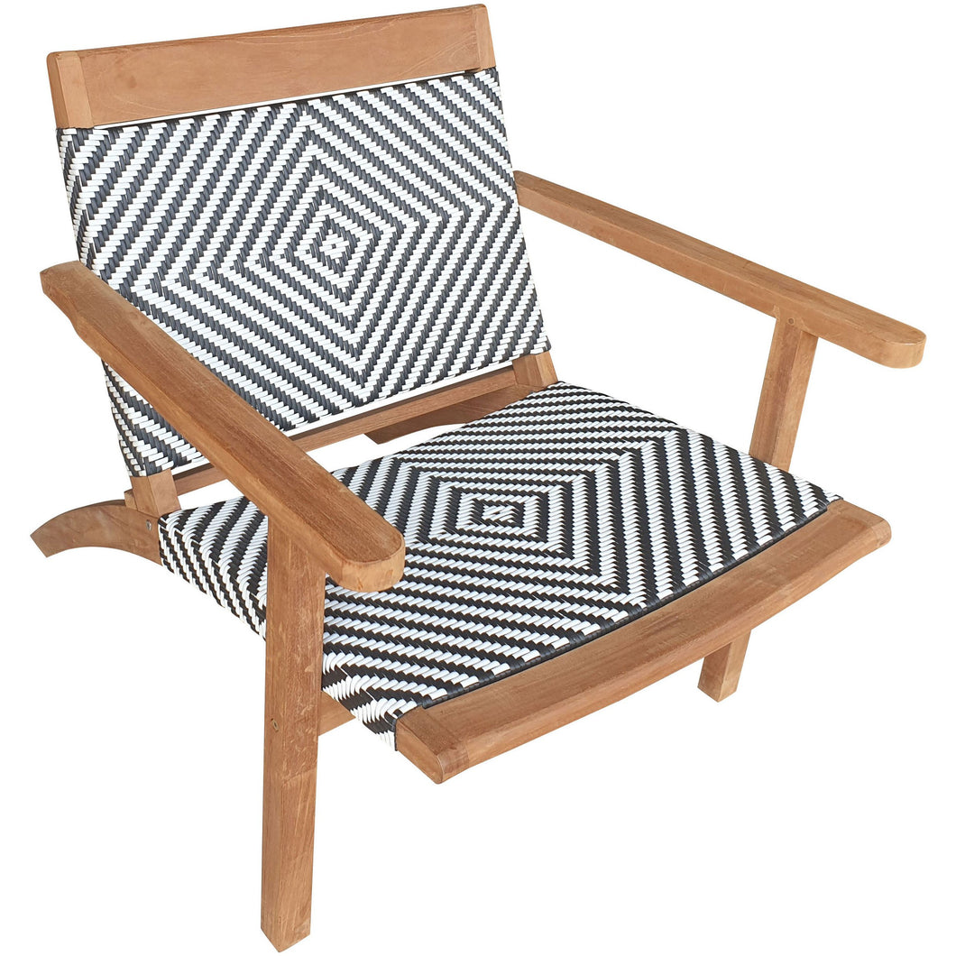 Teak Wood Barcelona Patio Lounge and Dining Chair, Black & White
