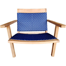 Teak Wood Barcelona Patio Lounge and Dining Chair, Blue - Chic Teak