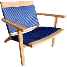 Teak Wood Barcelona Patio Lounge and Dining Chair, Blue