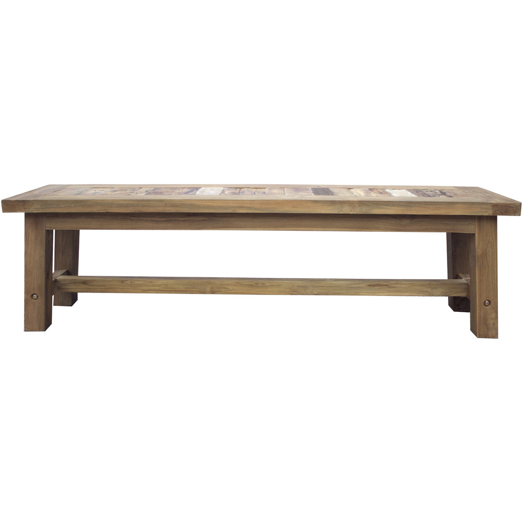 Recycled Teak Wood Tuscany Backless Bench, 63 Inch - Chic Teak
