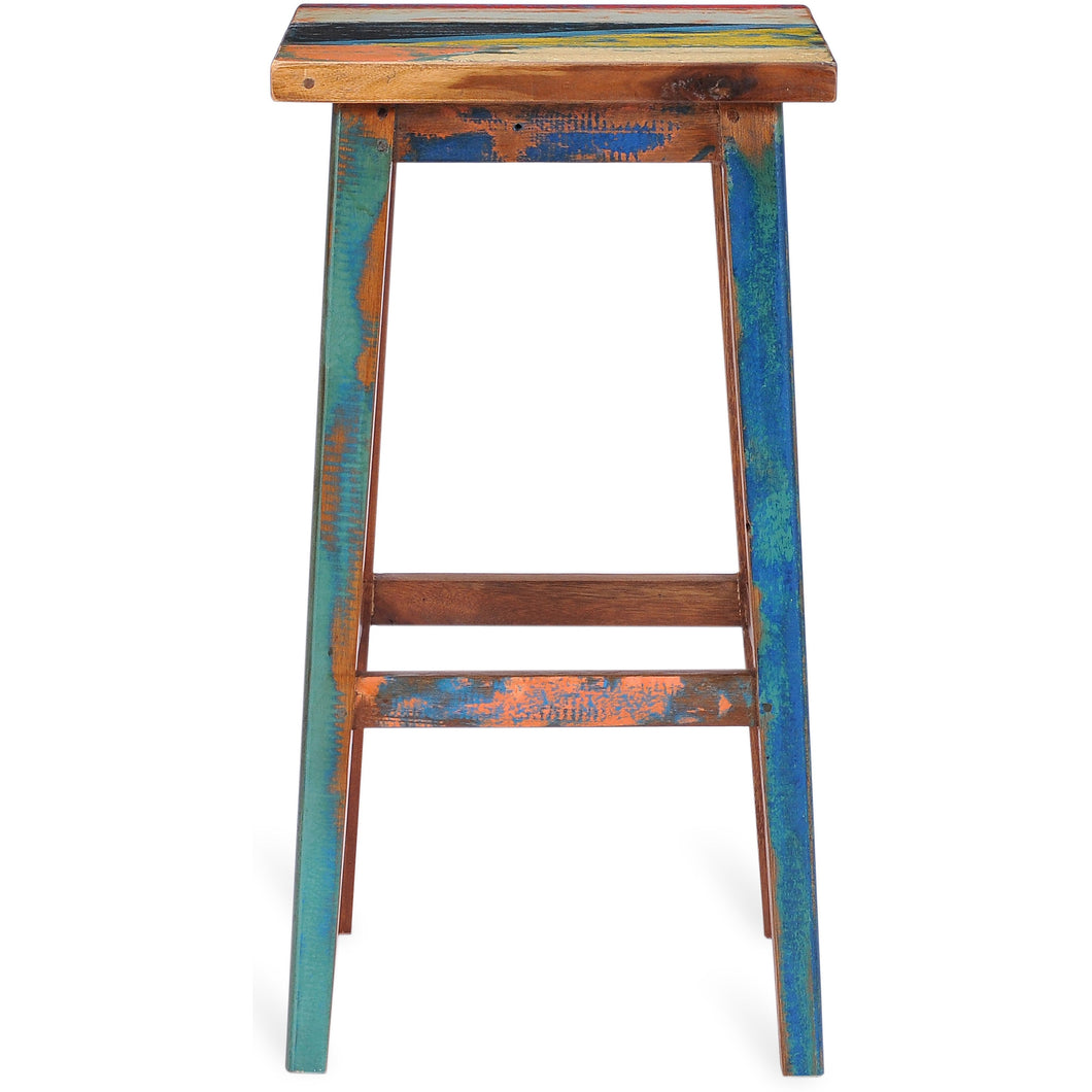 Marina Del Rey Square Recycled Teak Wood Boat Barstool By