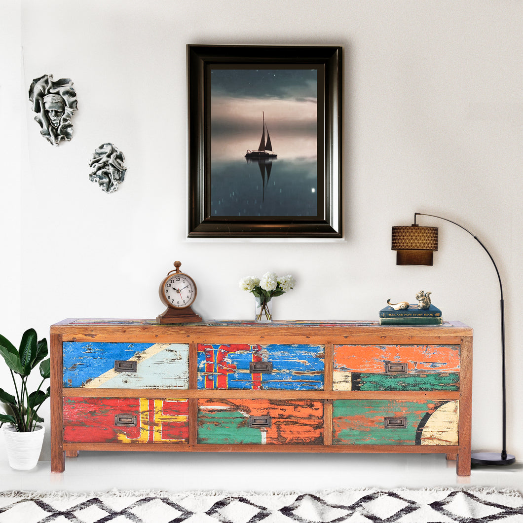 Dresser / Buffet with 6 Drawers made from Recycled Teak Wood Boats