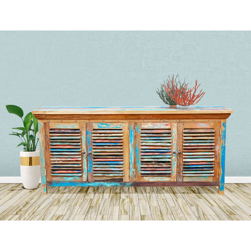 Chest / Media Center with 4 Doors made from Recycled Teak Wood Boats - Chic Teak