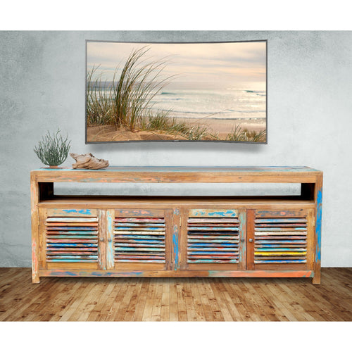 Chest / Media Center with 4 Doors & Raised Shelf made from Recycled Teak Wood Boats - Chic Teak