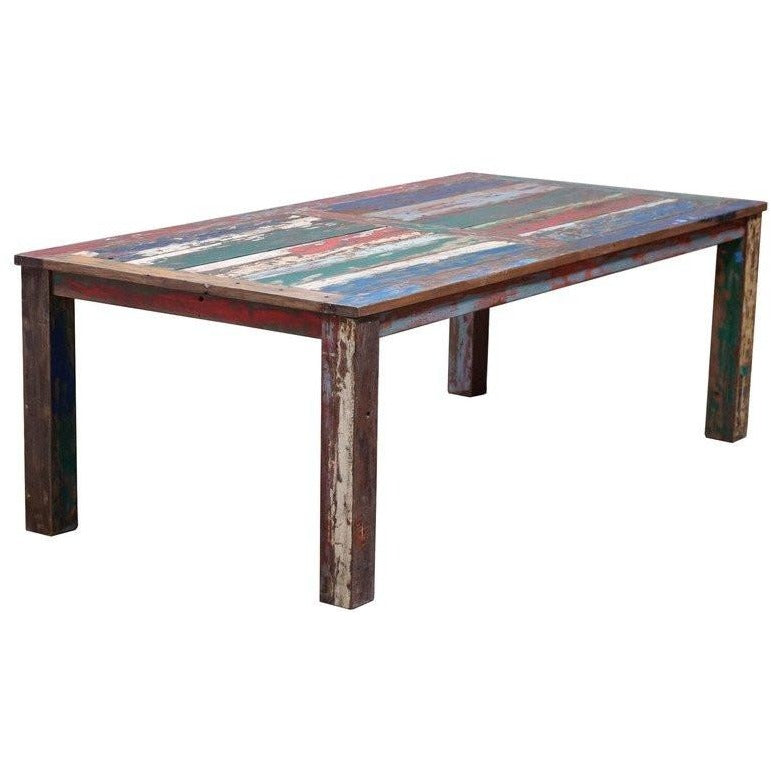 Teak Wood Dining Table Made From Recycled Teak Wood Boats, 55 X 35 Inches - Chic Teak