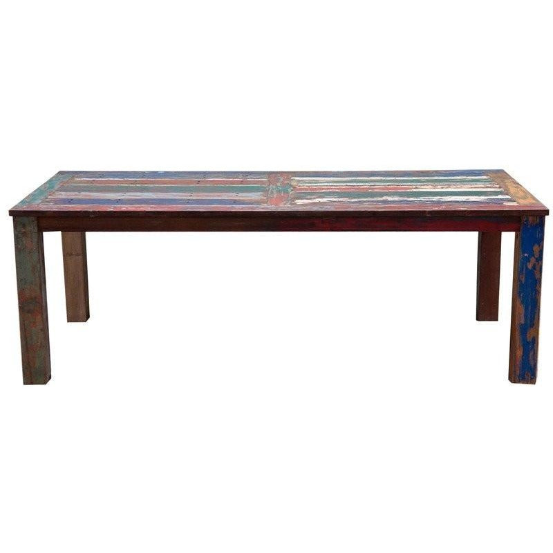 Teak Dining Table Made From Recycled Boats, 87 X 43 Inches-Chic Teak