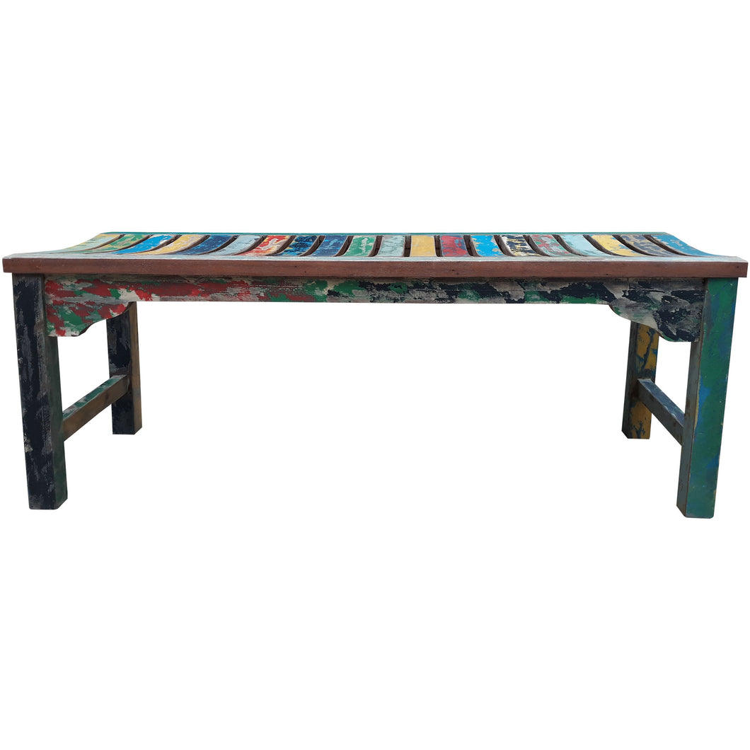 Backless Dining Bench made from Recycled Teak Wood Boats, 4 foot - Chic Teak