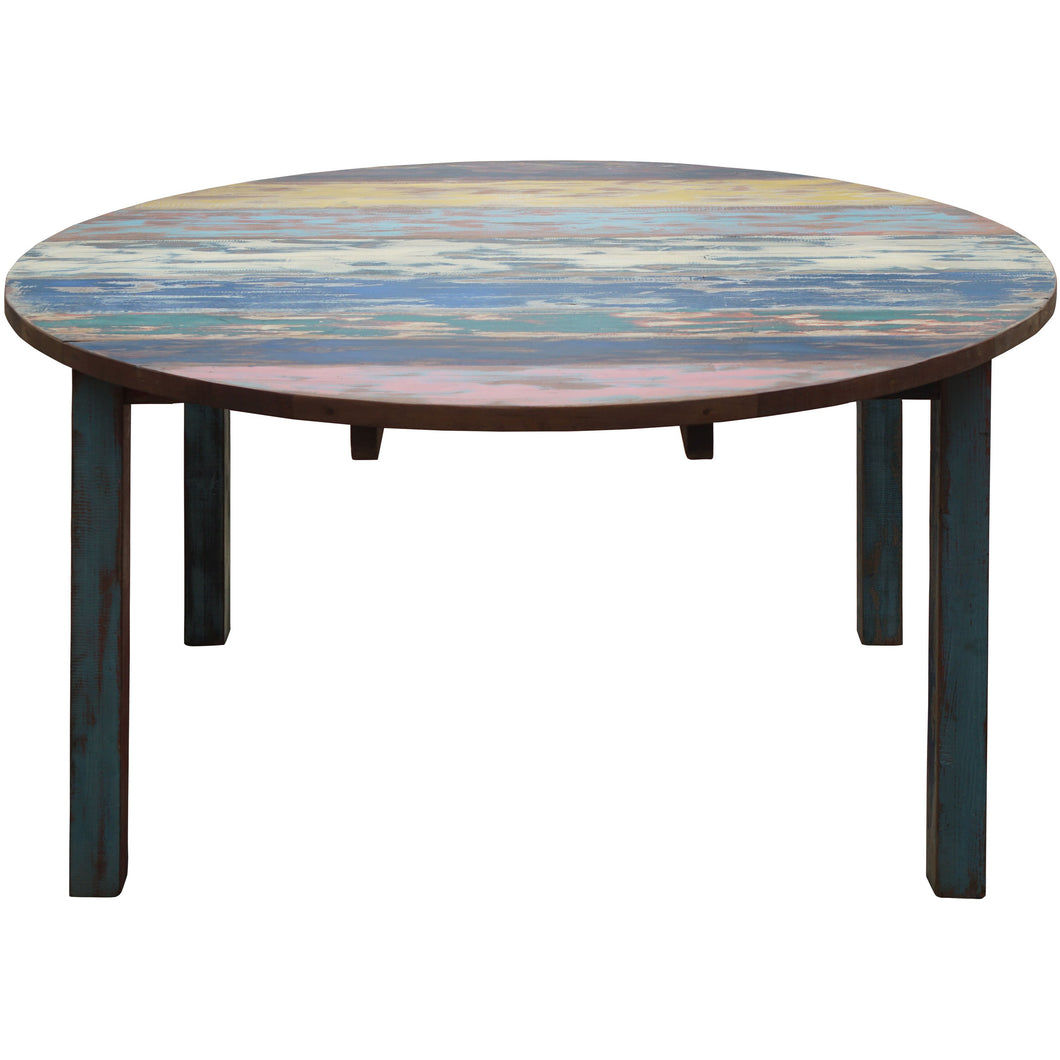 Round Dining Table made from Recycled Teak Wood Boats, 63 inch