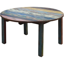 Round Dining Table made from Recycled Teak Wood Boats, 63 inch - Chic Teak