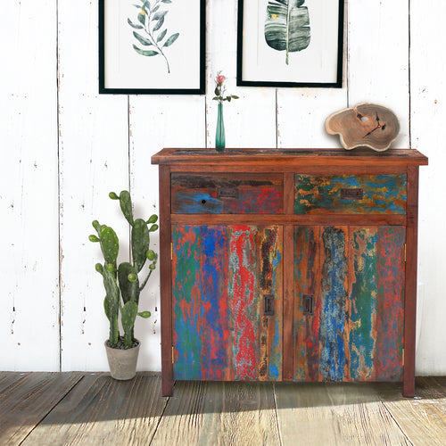 Chest with 2 Doors & 2 Drawers made from Recycled Teak Wood Boats