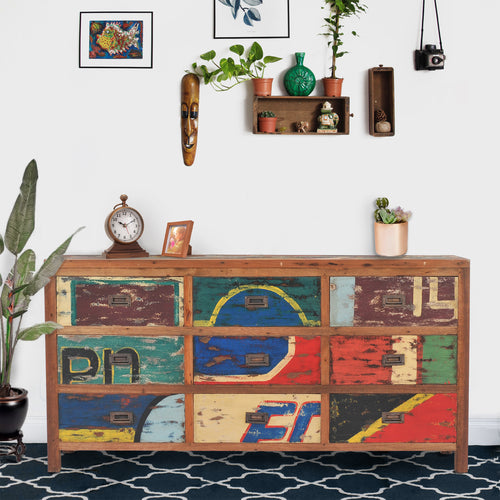 Dresser / Chest With 9 Drawers Made From Recycled Teak Wood Boats