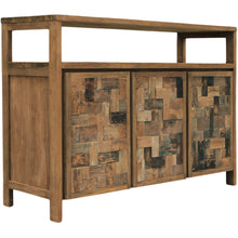 Recycled Teak Wood Mozaik Media Center / Buffet with 3 Wooden Doors - Chic Teak