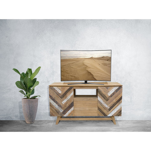 Recycled Teak Wood Brux Art Deco Dresser / Media Center, 59 Inch - Chic Teak