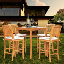 "5 Piece Teak Wood Castle Patio Bistro Bar Set with 35"" Bar Table & 4 Barstools"