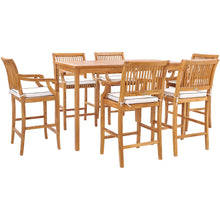 Teak Wood Castle Barstool with Arms