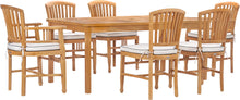 "7 Piece Teak Wood Orleans 71"" Patio Bistro Dining Set with 2 Arm Chairs & 4 Side Chairs"