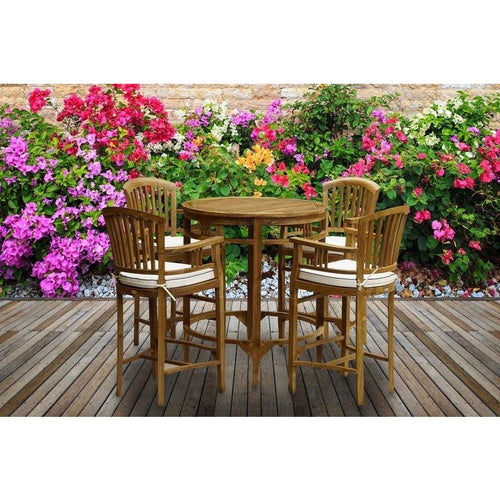 5 Piece Teak Wood Orleans Bar Table/Chair Set With Cushions - Chic Teak